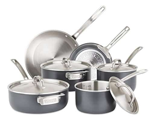 Viking 5-Ply Hard Stainless Cookware Set with Hard Anodized Exterior