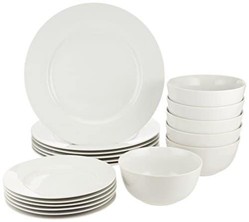 Amazon Basics 18-Piece White Kitchen Dinnerware Set