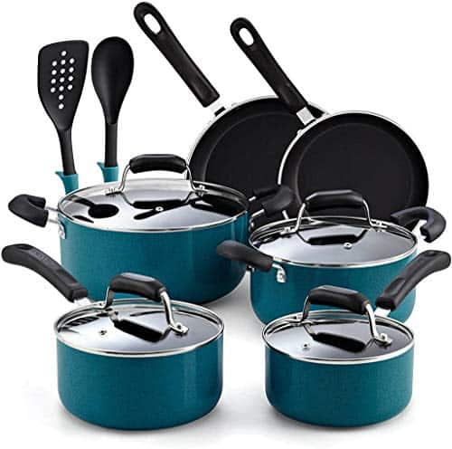 Cook N Home 12-Piece Stay Cool Handle, Turquoise Nonstick Cookware Set