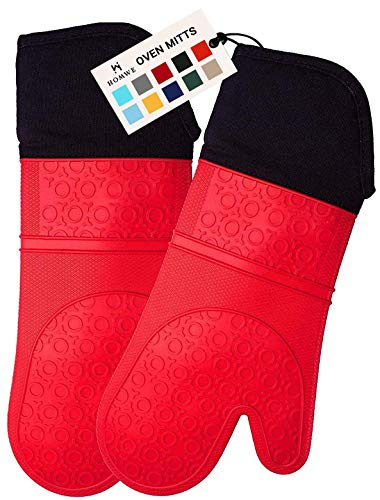 HOMWE Extra Long Professional Silicone Oven Mitts