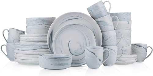 Stone Lain Marble Fine China Dinnerware Set